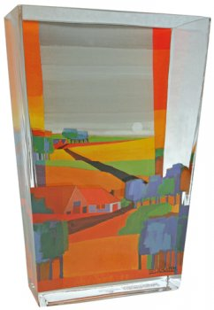 "Glasvase ""Goldgelbe Landschaft"""