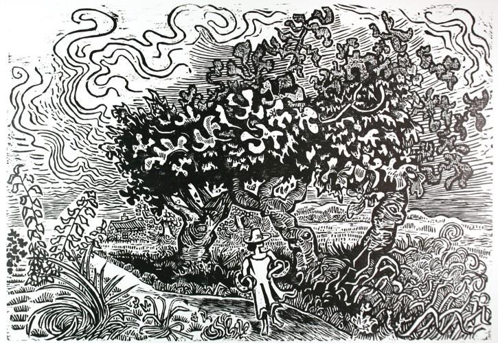 Mädchen mit Feigenbaum