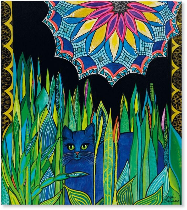 gatto azzuro nel verde