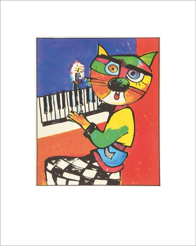 Katze am Klavier