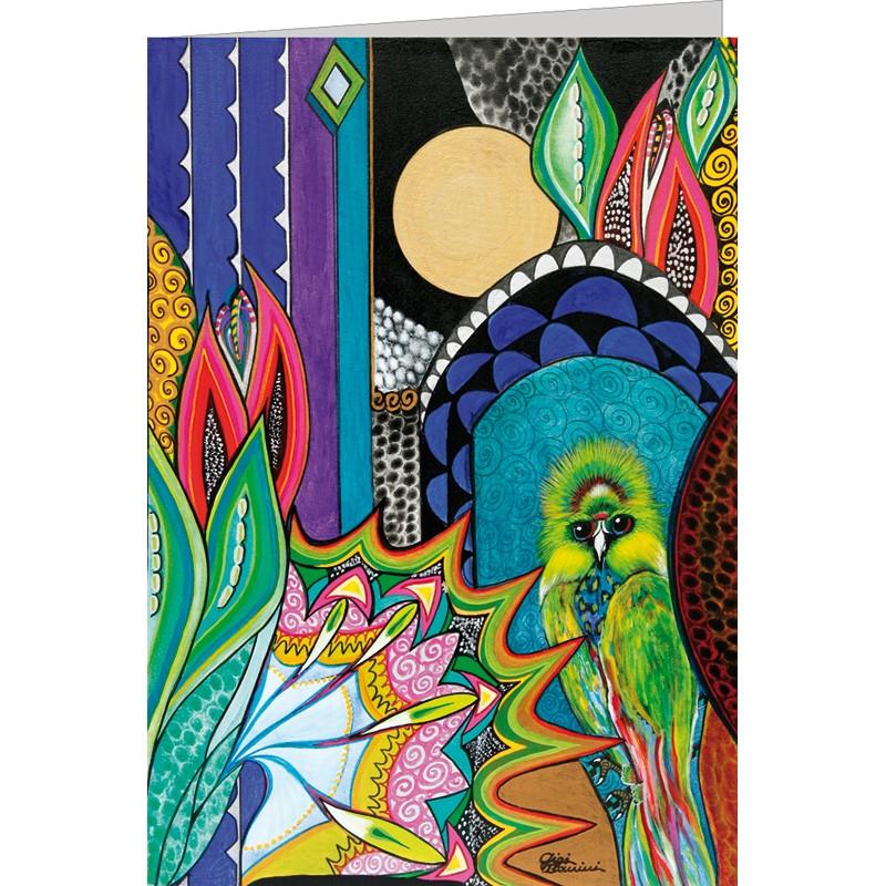 """Kunst Doppelkarte """"Grüner Zaubervogel"""" - Gigi Banini"""
