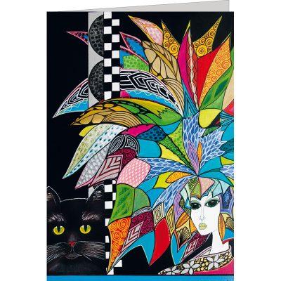"""Kunst Doppelkarte """"Senira con gatto nero"""" - Gigi Banini"""